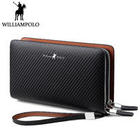 WILLIAMPOLO Business Men Clutch Bag Genuine Leather Flap Handbag Double Zipper Handy Clutches Wallet Male Valentine's Day Gift