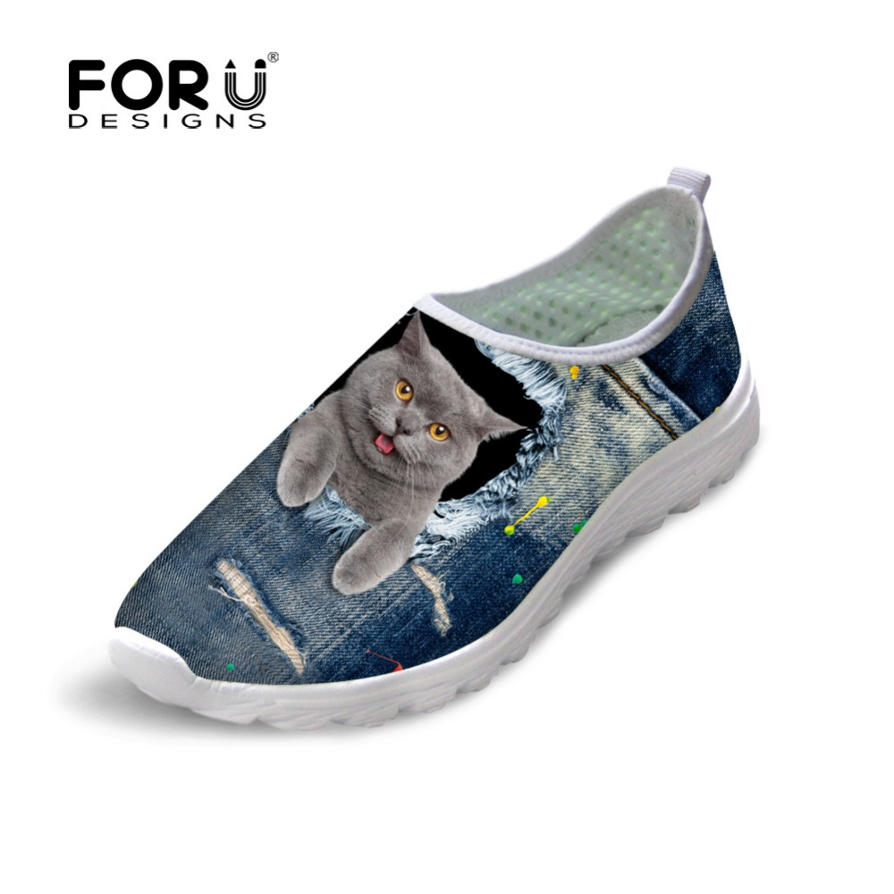 FORUDESIGNS 2018 Newest Women Summer Light Weight Slip on Shoes Fashion Mesh Flat Shoes Cute Jeans Pet Cat Print Female Flats forudesigns cartoon shark print women flats shoes sneakers casual women s summer mesh shoes beach girls loafers slip on zapatos