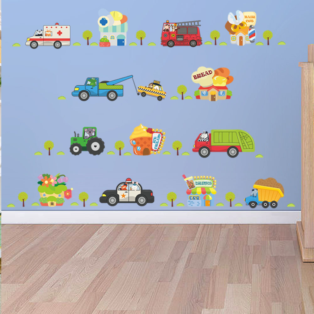 Lovely 3D Vivid Car Wall Sticker Decals For Boys Bedroom Kids Room Cartoon Tractor Taxi Ambulance Poster Mural Wall Stickers