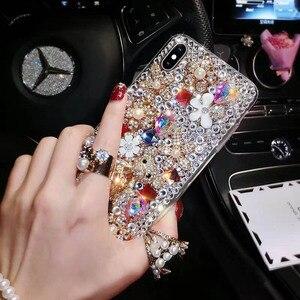Image 3 - Capa de celular fashion com brilho, capa tpu macia com pedras de cristal, com glitter, para huawei p30 pro p30 p20 lite correia de joias