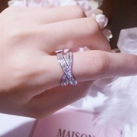 Never Fade 100% Pure 925 Sterling Silver High Quality White Clear 5A Cubic Zirconia Women Wedding Band Cross Ring For Lover's