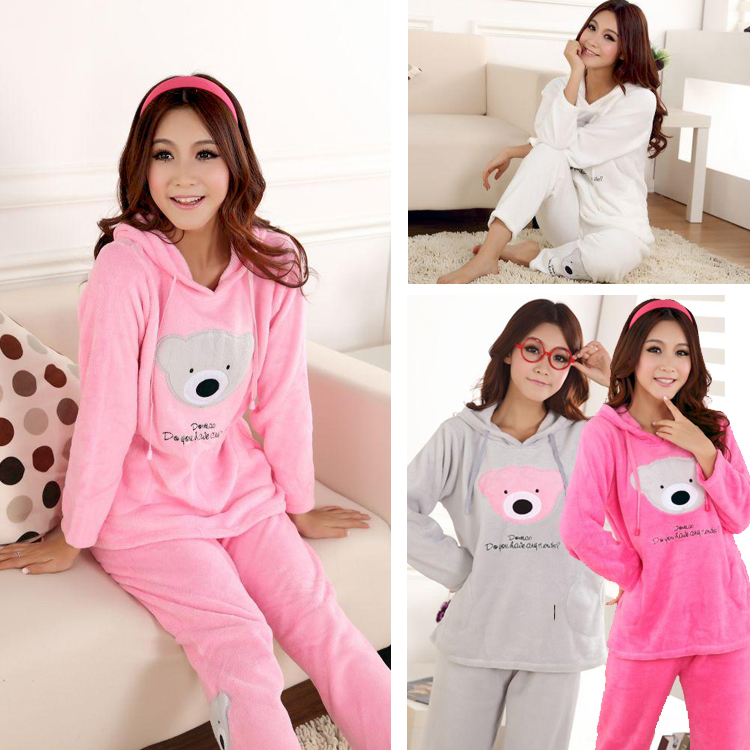 83659aa9d Women's coral fleece nighty sleepwear cute bear pattern autumn & winter  ladies long sleeve pajamas nightwear nightgown set-in Pajama Sets from  Underwear ...