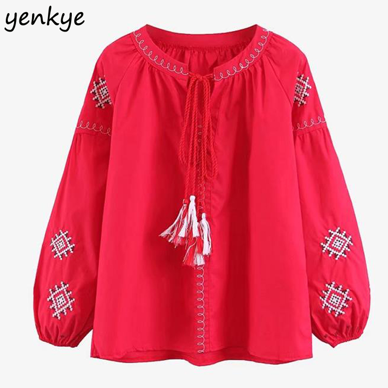 Vintage Women   Blouses   Geometric Embroidery Lantern Sleeve Tassel Lace Up O Neck Casual   Blouse     Shirt   Plus Size Tops