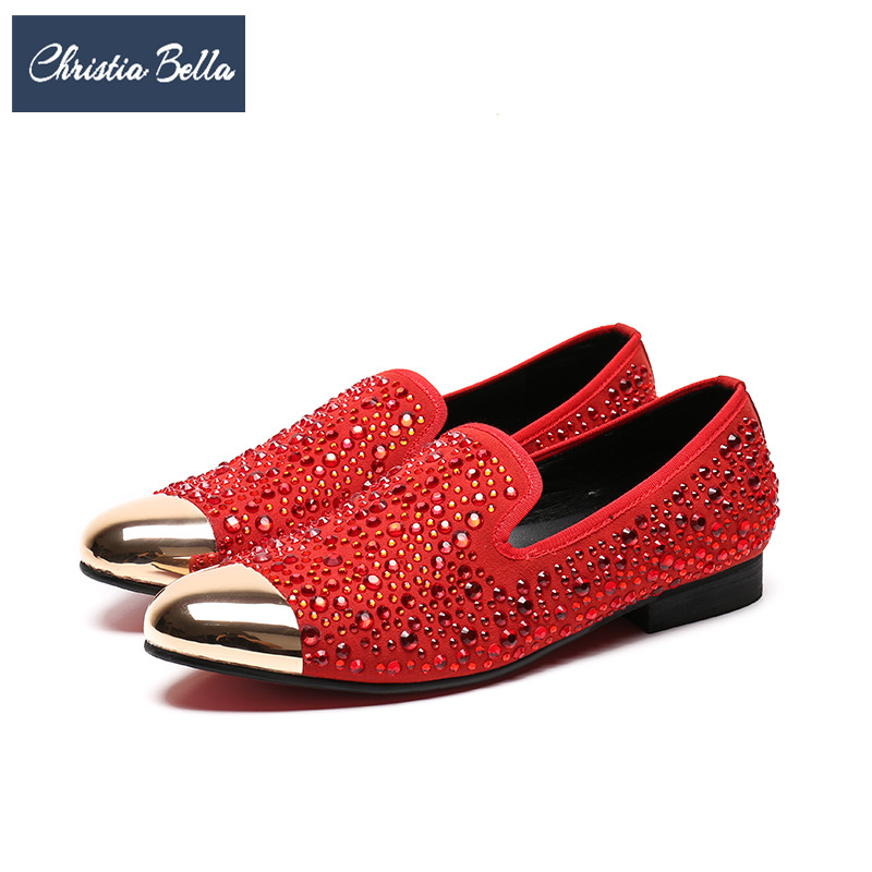 Christia Bella Big Size Gold Toe Designer Men Suede Dress Shoes Wedding Party Crystal Men Loafers Red Smoking Slipper Male Flats handmade red suede men shoes with gold rhinestone and gold toe metal party and banquet men dress loafers male s flats