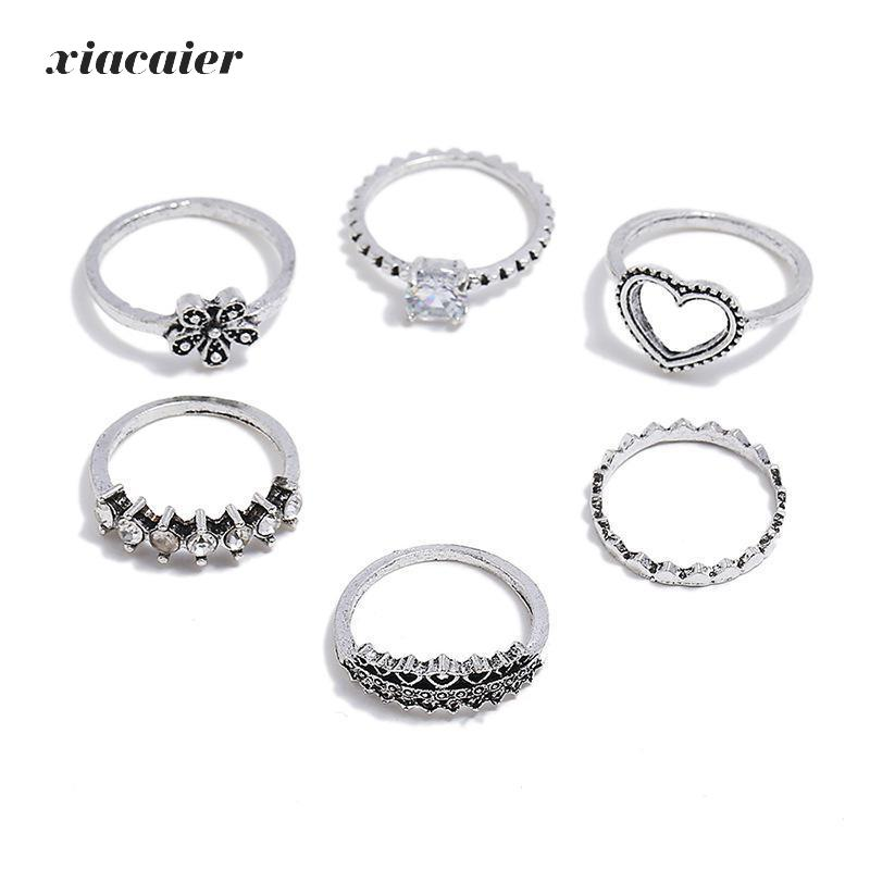 Xiacaier Vintage Flower Rings Set For Women Girl Bohemia Antique Silver Color Midi Rings Set Floral Knuckle Ring Anillos 6pcs