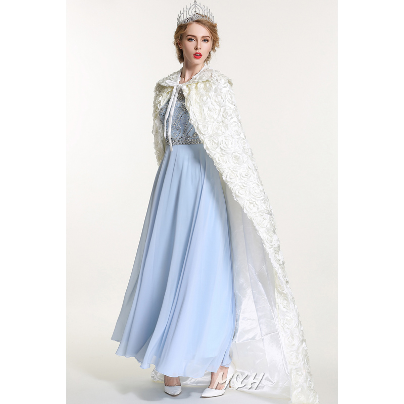 """Women Rose Cloak Cake Full Length 71"""" Lace-up Robe Silken Cloth Elegant White Cape Cosplay Party Costume Pageant Cloak Handmade"""
