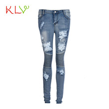 2017KLV sexy pantalones newly stylish Womens Denim Ripped Pencil Pants Stretch Cotton Skinny Slim Trousers calcas 17May 12