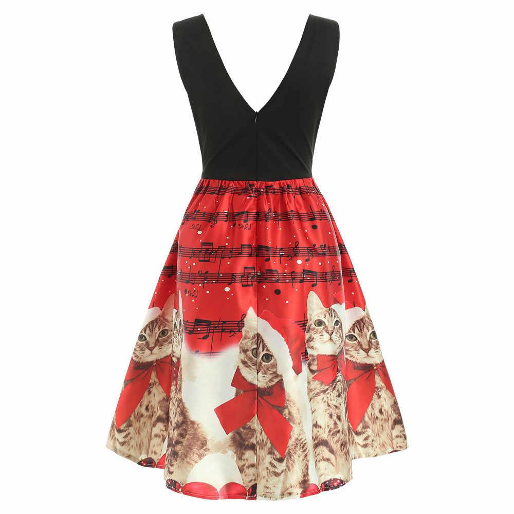 da6e72ab0d0a ... robe noel femme Christmas Dress Women Sleeveless Christmas Cats Musical  Notes Print Vintage Flare Dress vestido ...