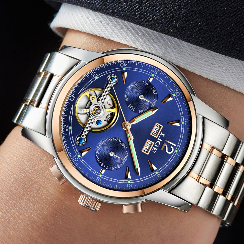 Relojes LIGE Male Automatic mechanical Sport Watch Men Luxury Brand Casual Watches Men's Wristwatch army Clock relogio masculino-in Mechanical Watches from Watches    3
