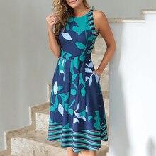 Женские летние платья размера плюс с О-образным вырезом без рукавов с принтом в стиле бохо, платье трапециевидной формы, повседневные женские пляжные сарафаны, платья