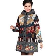 Новый 2016 зимой толстые Ватные куртки женщины плюс бархат с капюшоном Парки женщины мать печати долго плюс size4XL пальто хлопка AE1869