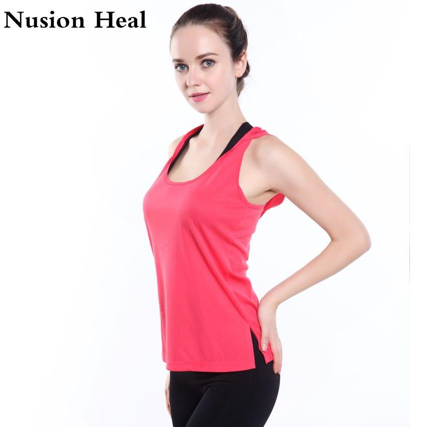 NUSION HEAL WomenS Yoga T-Shirt Yoga Woman Sleeveless Yoga Tank Tops Sports Tops Fitness Shirt Women Quick Dry Running Shirts