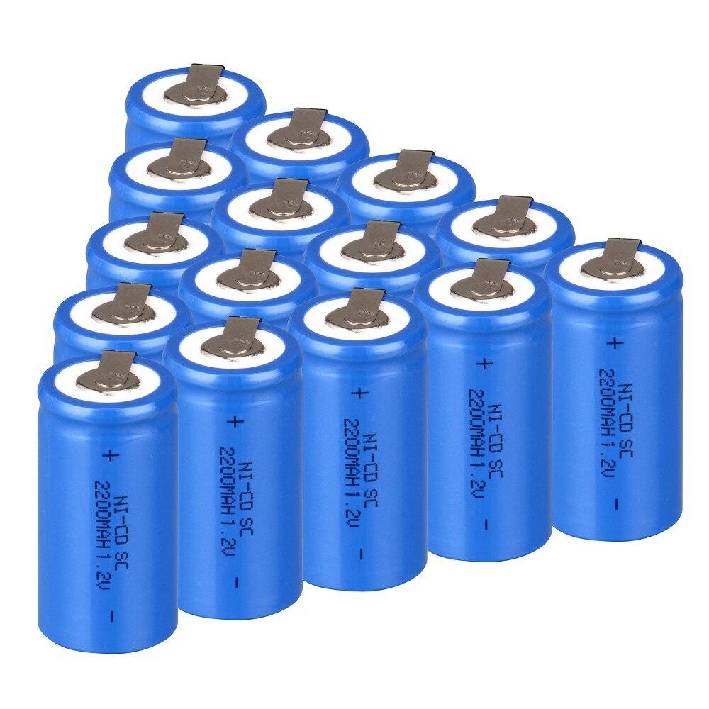 15 unids SC SC batería recargable ni-cd subc batería 1.2 v banco de la energía 2