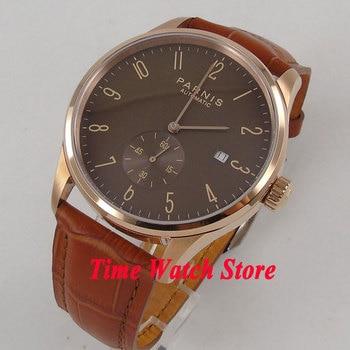 42mm Parnis golden case brown dial Arabic numerals DATE 5ATM ST1731 Automatic movement men's watch wrist watch 957