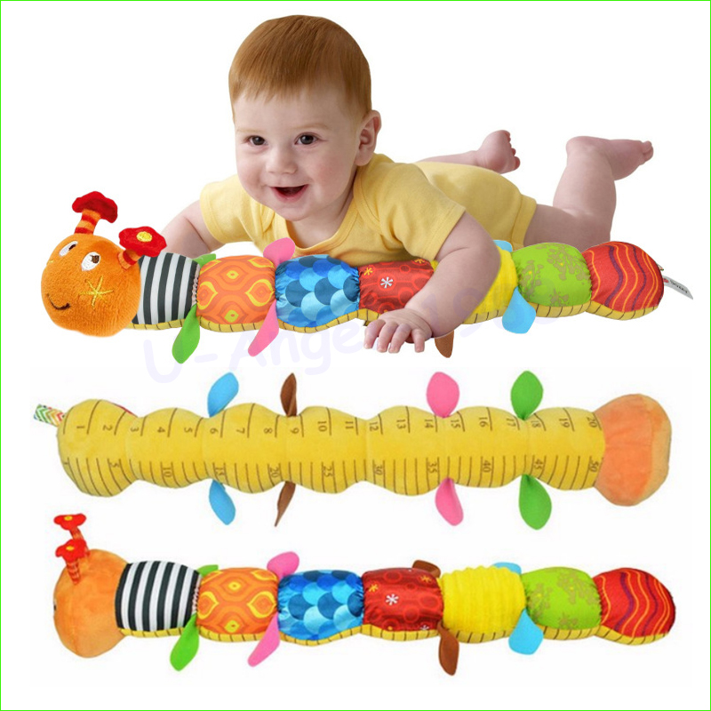 1 unids bebé juguete ratón musical de Caterpillar con anillo Bell cute Cartoon animal Plush muñeca temprana educativa