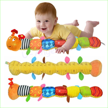 1pcs Baby Toy Musical Caterpillar Rattle with Ring Bell Cute Cartoon Animal Plush Doll Early Educational