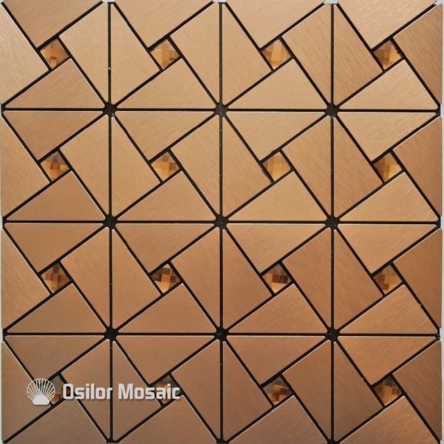 Tea Color Metal Mosaic Aluminum Plastic Plate Mosaic Tiles For Kitchen  Backsplash Decoration Tiles M002