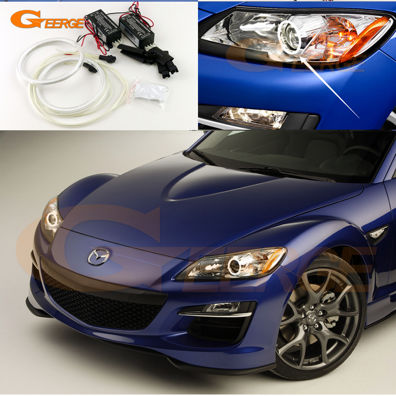For Mazda RX-8 R3 2009 2010 2011 2012 Excellent angel eyes Ultra bright illumination CCFL angel eyes halo Ring kit for honda odyssey 4th g rb3 rb4 chassis 2008 present excellent ultrabright headlight illumination ccfl angel eyes kit halo ring