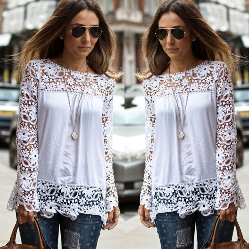 Camisa Feminina S-6XL Large Size Chiffon Blouses Fashion Women's Blouse Lace Long Sleeve Shirt Crochet Blusa Tops Blusas