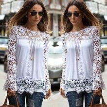 S 7XL Large Size Fashion Women Lace Long Sleeve Chiffon Blouses Shirt Crochet Blusa Tops Blusas
