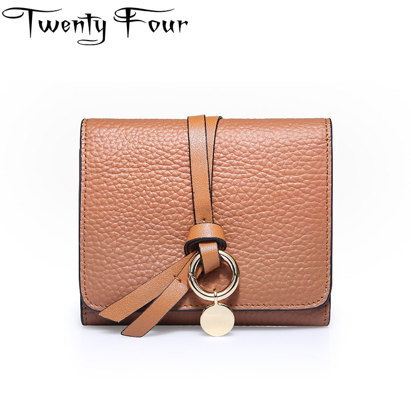 Twenty-four Genuine Leather Small Wallet Women Rope Buckle Purses Woman Hasp Female Purses Young Ladies Coins Card Holder Clutch casual weaving design card holder handbag hasp wallet for women
