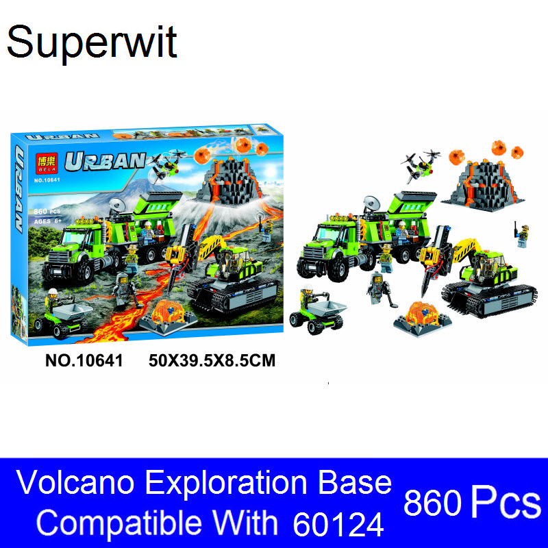 Superwit Bela 10641 Lepin City Series Volcanic Expedition Base Model Building Kits Bricks Blocks Toys For Children Gift 60124 1713 city swat series military fighter policeman building bricks compatible lepin city toys for children lepin kazi bela sluban