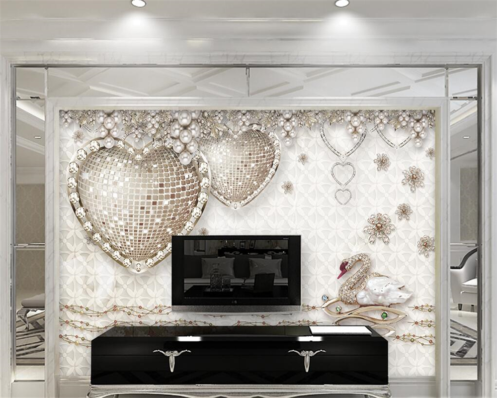 Beibehang 3D Photo Wallpapers Romantic Stereo Heart Jewelery mural ...
