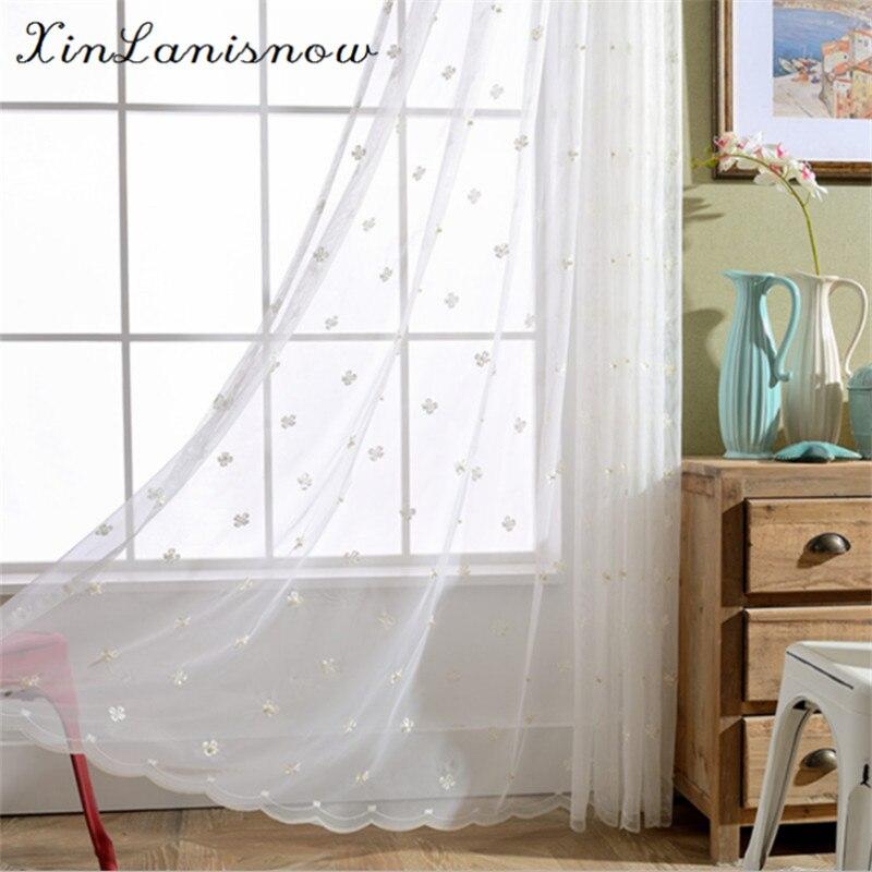 ᗑBlanco bordado cortinas para Living comedor dormitorio del grano ...