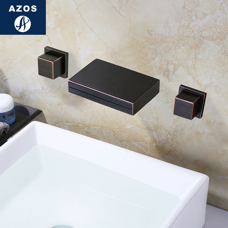 Azos In-wall Faucet Discoloration Waterfall Brass ORB Cold and Hot Switch Temperature Control LED Shower Room Basin Bathroom Cab