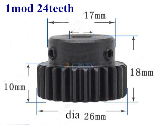 Spur gear pinion 1mod 24teeth 1M24T metal motor boss gear inner hole 5-10mm gear rack transmission RC 11184 steel metal spur diff main gear 64t motor pinion gears 17t 21t 26t 29t 11189 11176 11181 11119 for rc hsp redcat rc truck