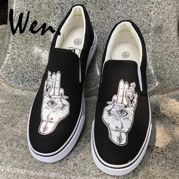 999a87d1b7fde7 Вэнь глаза на ладони сигарета дым дизайн черный холст оригинальная обувь  для мужчин женщин слипоны плоские белые кроссовки тонкие туфли