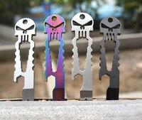 Stainless Steel Tactical EDC Pocket Multi Functional Skeleton Screwdriver Crowbar Punisher Outdoor Tools Bottle Opener Wrench
