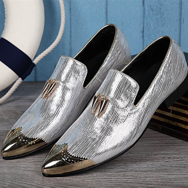 Choudory 2017 Italian Shoes Men Leather Spiked Heels Wedding Glitter Loafers Mens Pointed Toe Dress Shoes Mocassin Homme choudory new winter men ankle italian shoes men leather shoes pointed toe mens black dress shoes sequined toe spiked loafers men