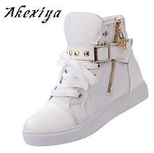 Akexiya Women's fashion casual shoes within the heightening 2016 leopard platform high canvas shoes women short ankle