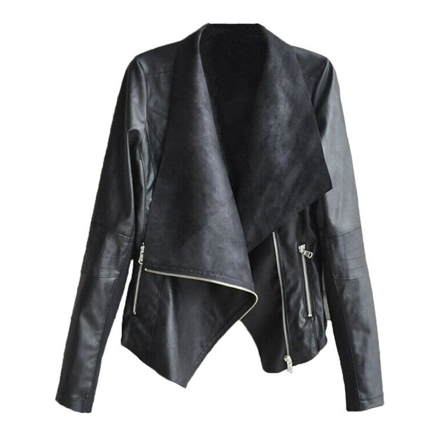 Осень Зима Стиль Женщины Мода PU Кожаная Куртка Пальто Vintage Леди Случайный Поворот Вниз Мотоцикл Молния Пальто И Пиджаки Oct7