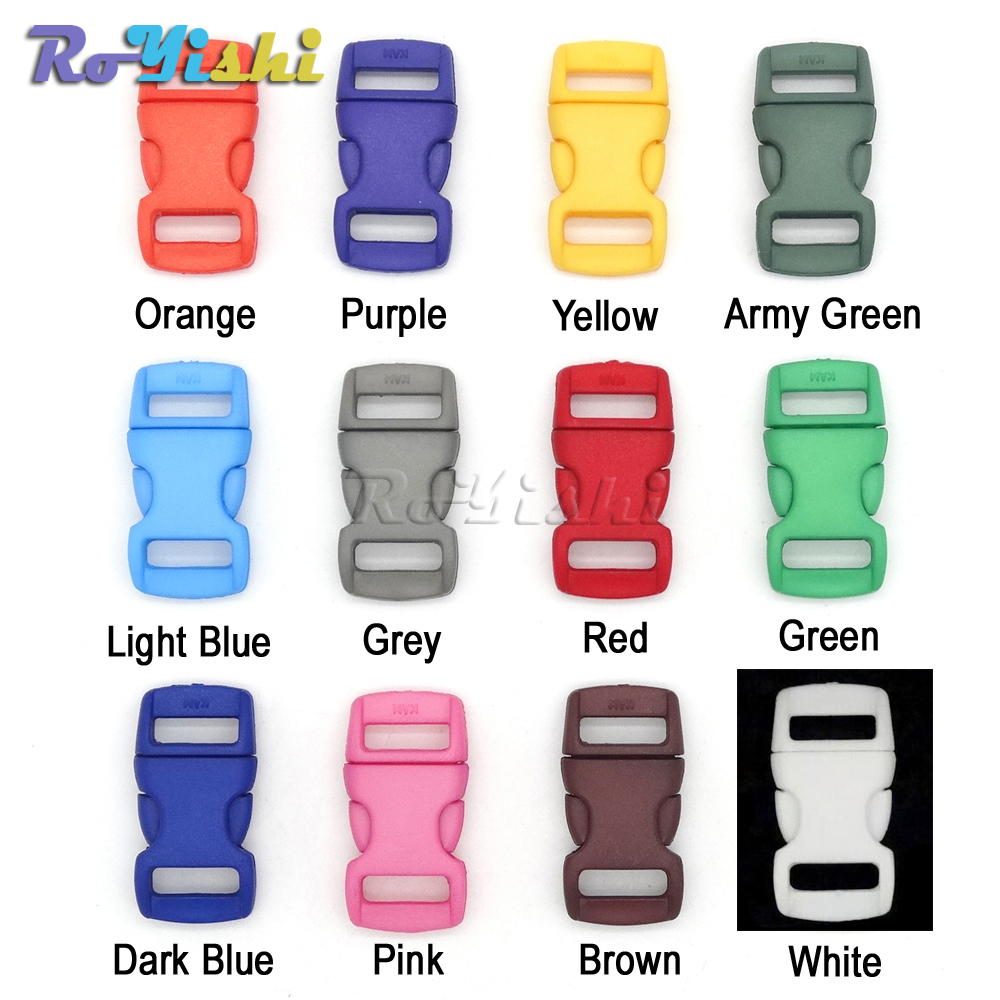 10mm Plastic Buckles Contoured Curved For Paracord Bracelets Finely Processed 12pcs/pack Mixed Colorful 3/8