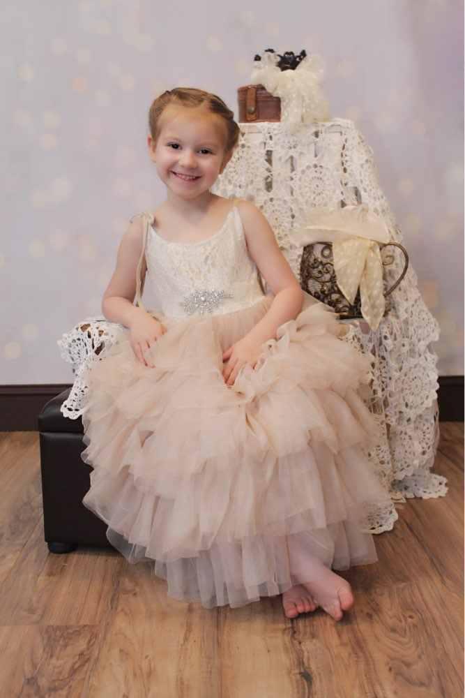 Розничная продажа, кружевное длинное платье с бретельками для девочек, летнее многослойное платье принцессы без рукавов, торжественное платье макси на день рождения и свадьбу