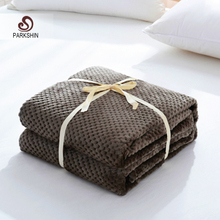 Parkshin Modern Coffee Flannel Pineapple Blanket Aircraft Sofa Office Adult Blanket Car Travel Cover Throw Blanket For Couch