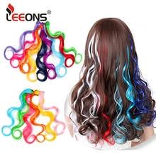 Leeons-Extensions de cheveux synthétiques longues ondulées, arcs-en-ciel, en fibres naturelles, 20 pouces
