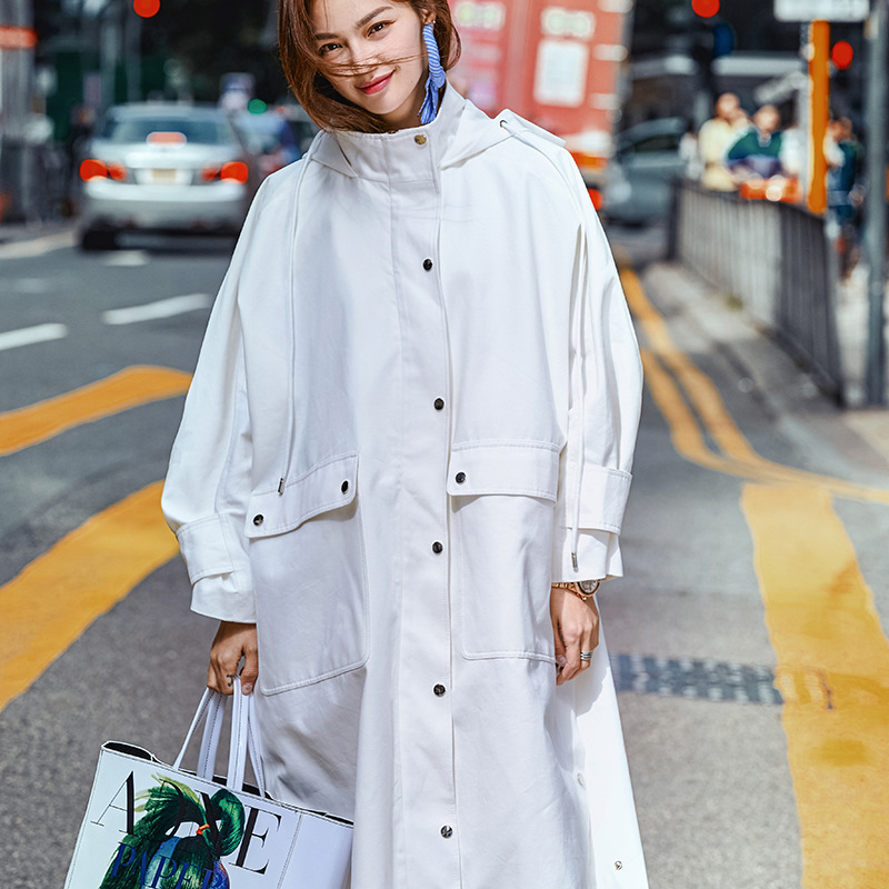 High Street Fashion Oversized Spring Coat Women Plus Size 2019 New Arrival 100% Cotton Hooded Overcoat Womens Long   Trench   Coat