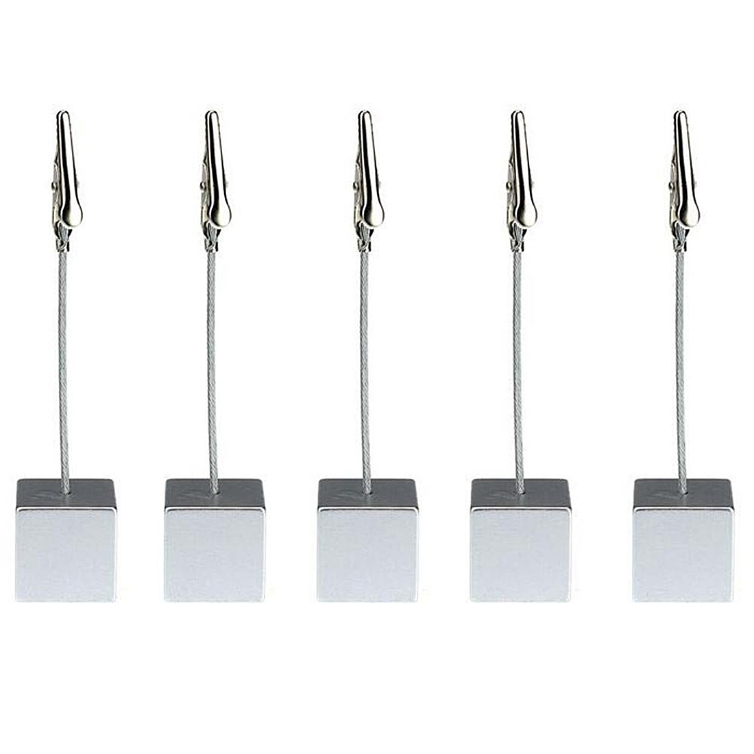 SOSW-5pcs Memo Clips Card Holders Wedding Name Table Setting Marker (Grey)