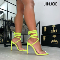 JINJOE Shoes Women Cross tied Sandals Rome Heels Sexy pumps Stiletto Gladiator Fluorescent green pink Plus large size 43 Nylon