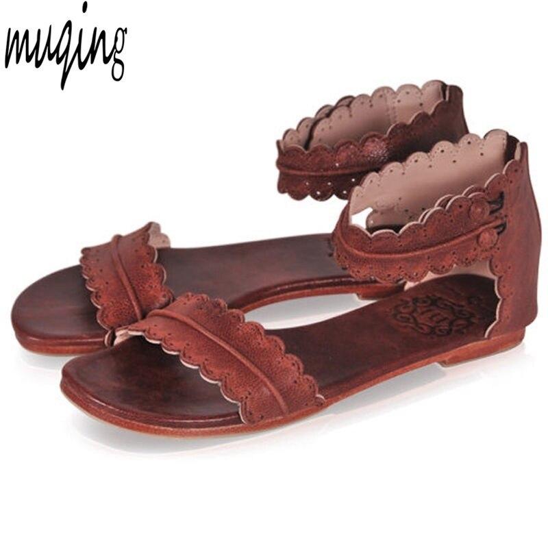 Женские летние Сандалии для девочек без каблука Ремешок на щиколотке повседневная обувь Молния сзади на молнии модная обувь 7n0005
