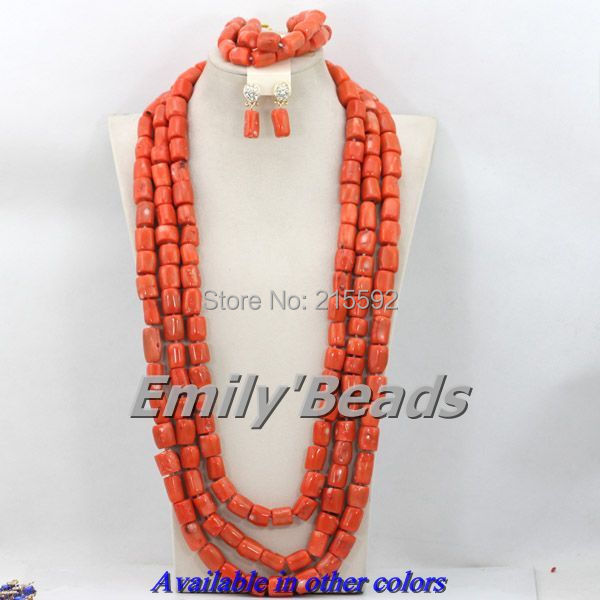 African Korallen Schmuck-set Natürliche Fashion Nigerianischen Hochzeits Afrikanische Perlen Schmuck-set Orange Wholesale Freies Verschiffen Cj288 Schmerzen Haben