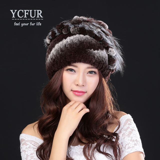 YCFUR New Arrival Women's Hats Winter Natural Rex Rabbit Fur Beanies Skullies With Fox Fur Trims Winter Caps Ladies