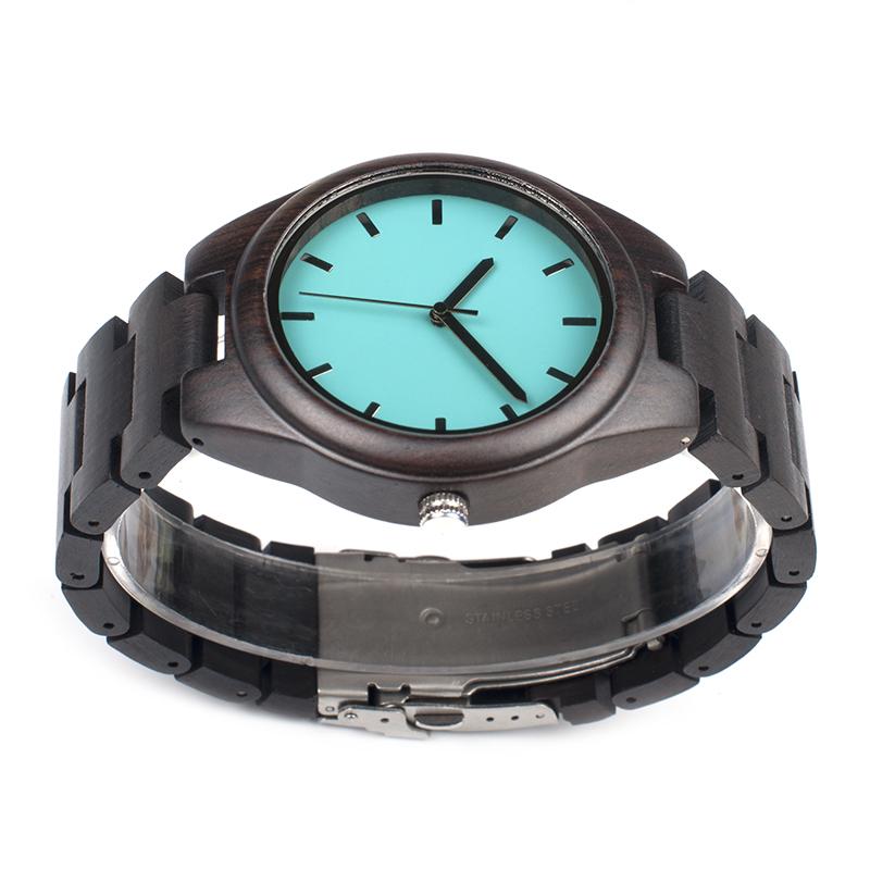 Topdudes.com - Simple Wooden Band Blue Classic Quartz Wristwatch