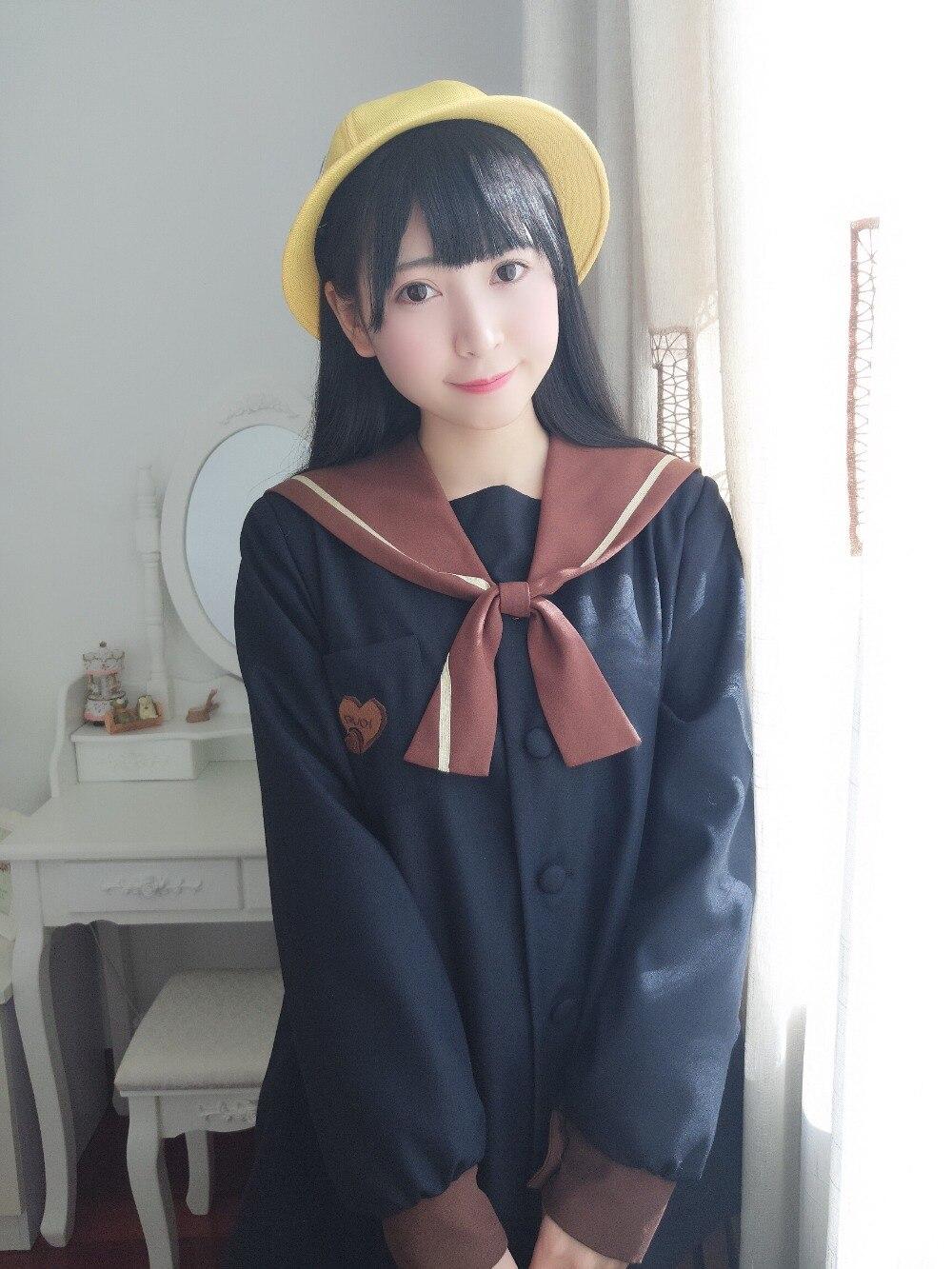 2019 autumn new female students campus high quality school uniform Japanese long sleeve sweet style chocolate color JK uniform