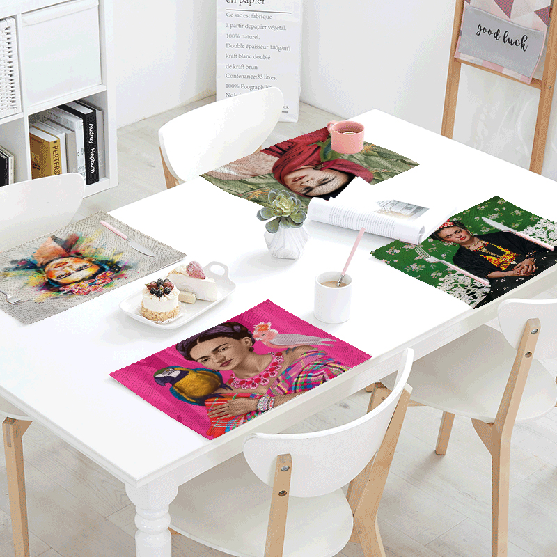 Frida Mexican 42*32cm Simple Style Pattern Table Mats Napkin Eatting Table Cotton Placemat Kitchen Decoration Dining Accessories