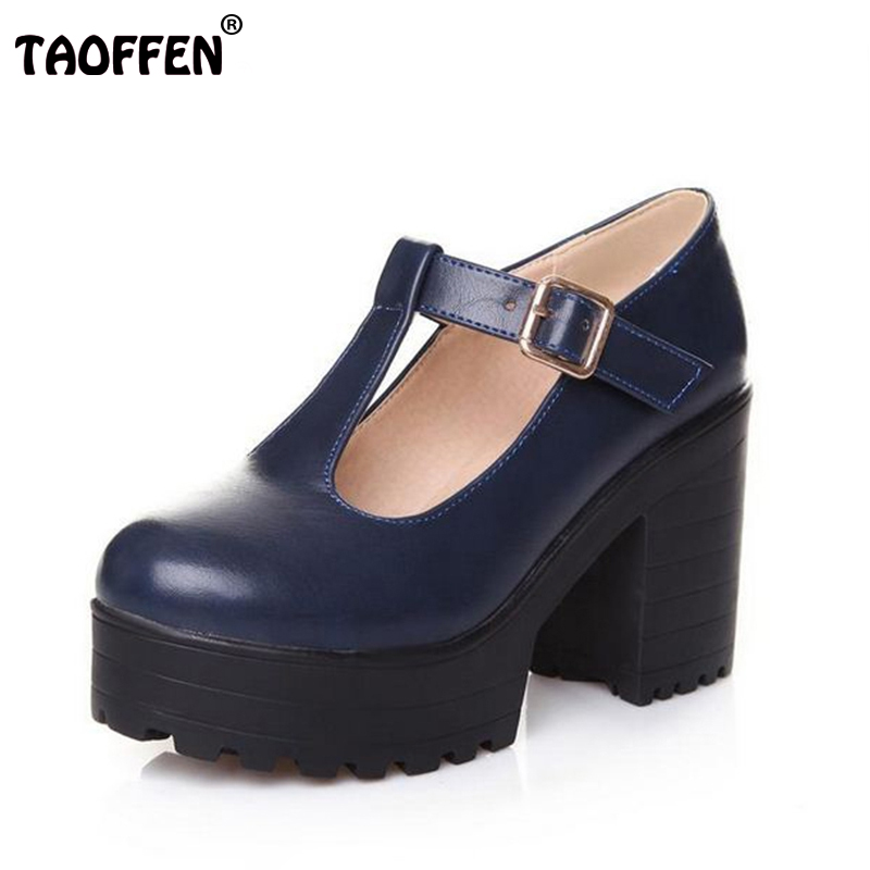 ФОТО Big size 34-46 New arrival Autumn winter Shoes woman Ankle boots Female fashion bootie Buckle High heel Platform Retro Cool