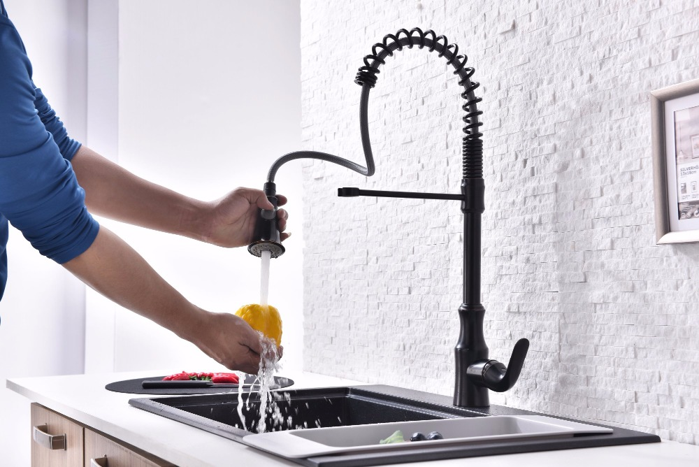 Brass Singel Lever Tall Pull Down Oil Rubbed Bronze Kitchen Faucet With Retractable Pull Out Wand Sprayer Head Swivel Spout In Kitchen Faucets From